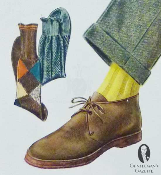 Chukka boot with rubber sole, yellow socks, and green trousers