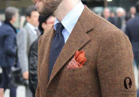 Beautiful brown sport coat with grenadine tie and orange pocket square - one in real ancient madder silk would have been better, note the curved button down collar