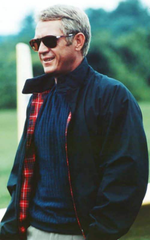 Steve McQueen in navy Harrington Jacket