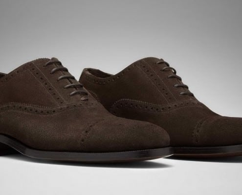 Half Brogue Oxford in dark Brown Suede - Model Roberto by Scarosso