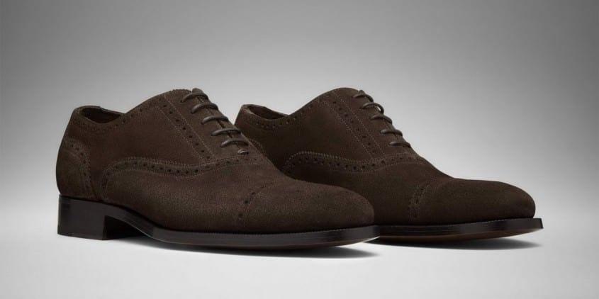 Half Brogue Oxford in dark Brown Suede - Model Roberto by Scarosso