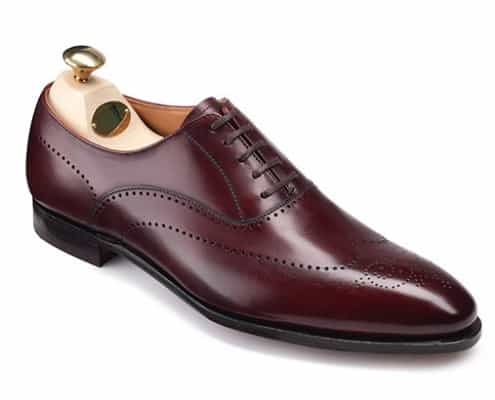 Plain Oxford Weybridge with Broguing by Crockett & Jones in Burgundy Burnished Calf