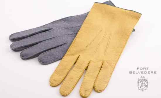 Unlined Gloves in Grey & Chamois Yellow by Fort Belvedere