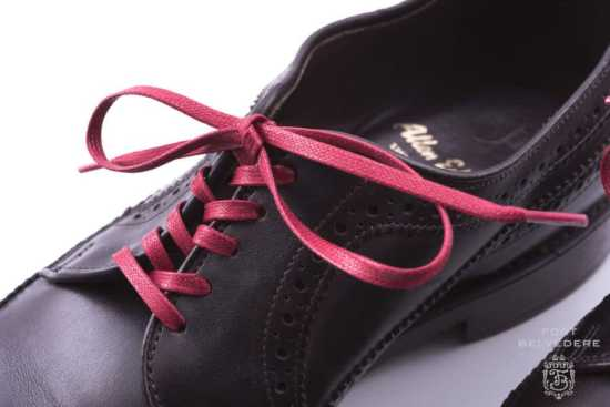 Red Flat Waxed Cotton Laces on Derby Shoe in Criss Cross Lacing