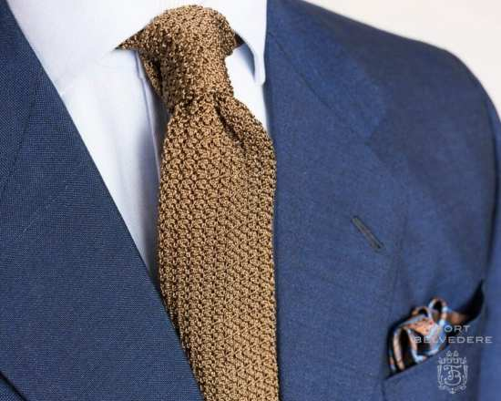 Mohair Blue Suit Folded Silk Pocket Square in Brown with Blue Paisley and Knit Tie in Solid Tobacco Brown Silk by Fort Belvedere