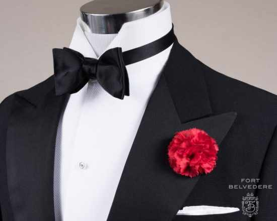 Black Bow Tie in Silk Satin Sized Butterfly Self Tie with Red Carnation Boutonniere and Classic White Irish Linen Pocket Square - Fort Belvedere