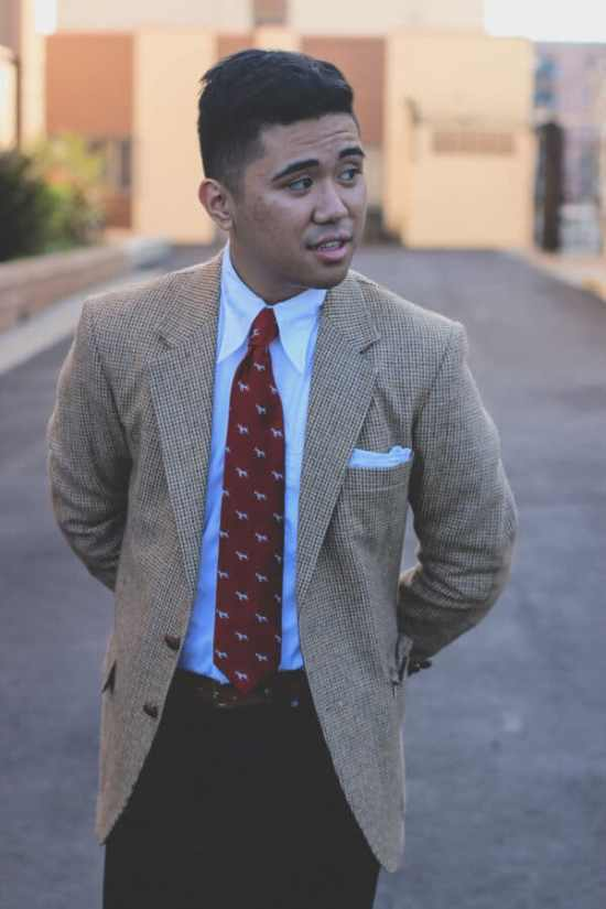 Single Breasted Sport Coat outfit with classic vintage collar