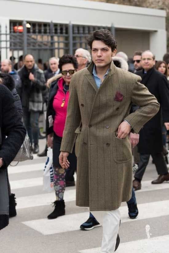 Double Breasted Overcoat without scarf and popped collar - a very common trend at Pitti