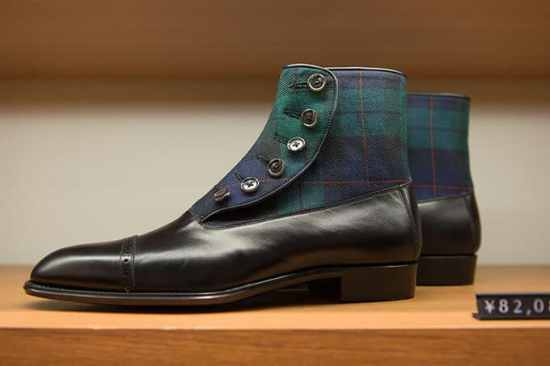 Blackwatch Tartan Button Boots