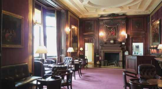 The lounge at a private members club