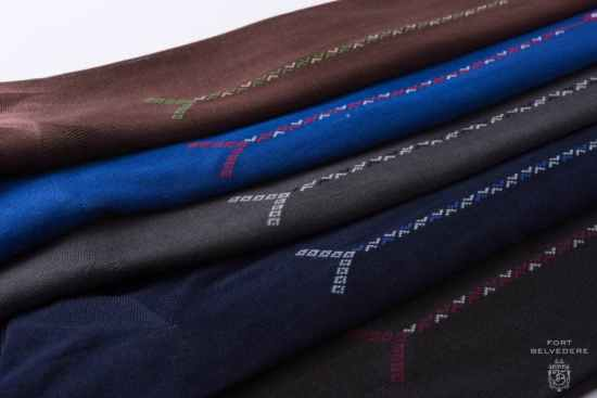 Brown, Blue, grey, Charcoal, navy Over the Calf Socks with Clocks in Luxury Fil d Ecosse Cotton in 4 Sizes Made in Italy by Fort Belvedere ankle