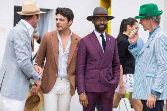 Unusual seersucker with green hat by Gui Bo with purple mottled suit, tobacco linen and light grey summer sport coat