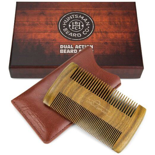 Beard comb with two sides and a pouch