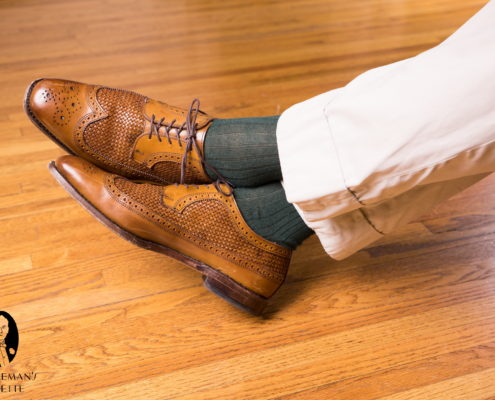 Brown derby shoes with Dark Green and Purple shadow stripe ribbed socks by fort belvedere