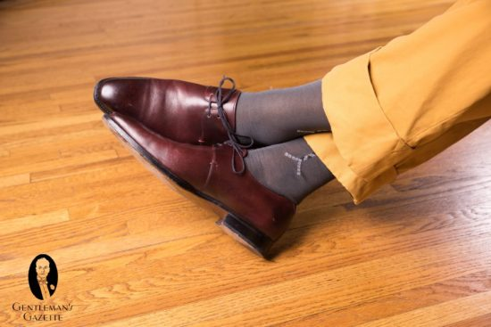 Oxblood derby shoes is a great option for Festive Attire dress code