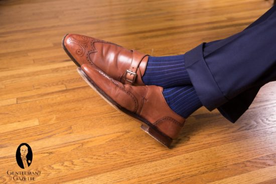 Wingtip monk strap shoes with Fort Belvedere socks