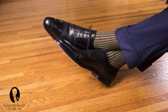 Black cap toe oxfords with Fort Belvedere shadow stripe socks