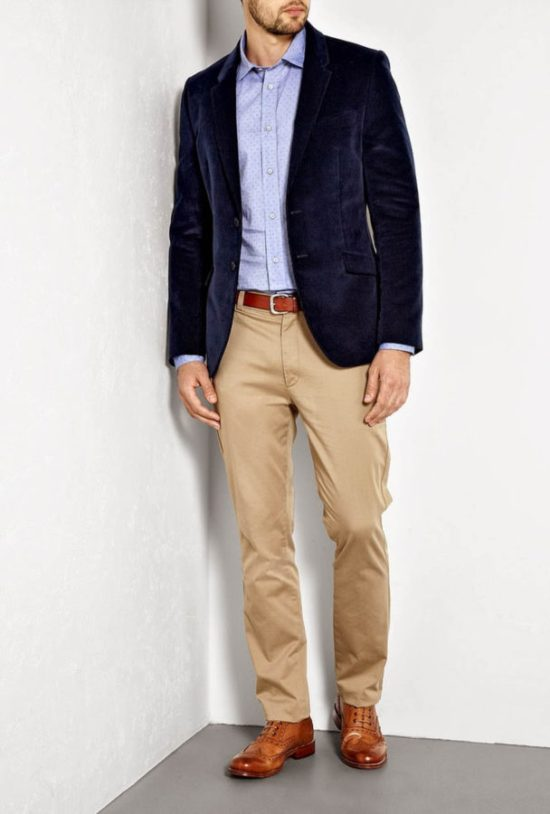 A light blue shirt for business casual with chinos and a blazer