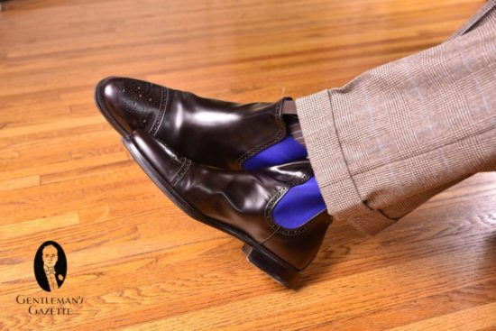 Dark brown chelsea boots with Light Brown and Blue Shadow Stripe Ribbed Socks by Fort Belvedere with glen plaid trousers