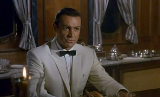 White Dinner Jacket with Black Batswing Bow Tie