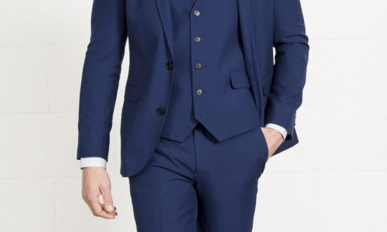 A navy three-piece suit
