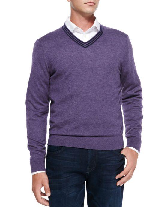 Neiman Marcus Cashmere V-Neck Sweater