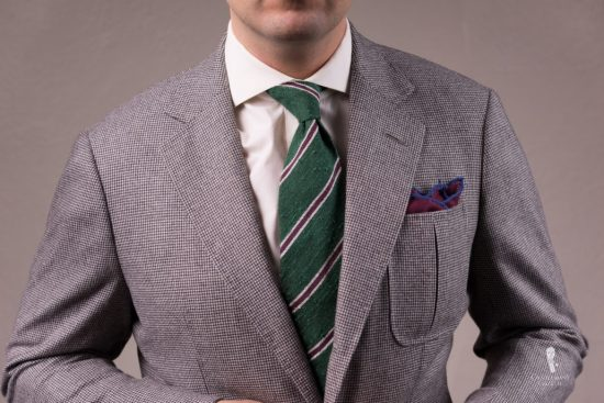 Shantung Striped Green, Purple and Cream Silk Tie - Fort Belvedere