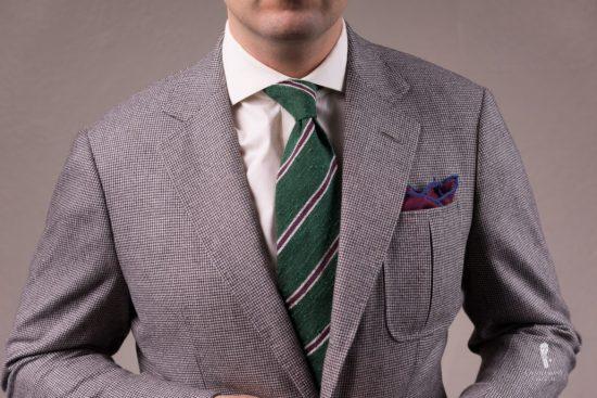 Shantung Striped Green, Purple and Cream Silk Tie - Fort Belvedere
