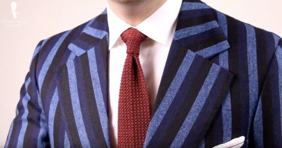 full canvas vintage rowing blazer made in England with red knit tie by Fort Belvedere