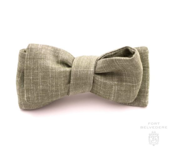Asymmetrical Bow Tie in Solid Olive Green Textured Wool Linen Blend