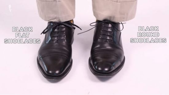 Black round and flat shoelaces by Fort Belvedere