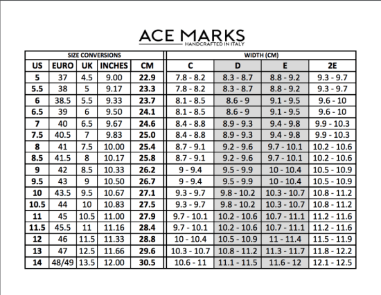 Ace Marks size conversion chart