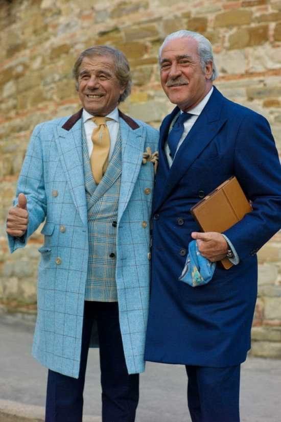 Lino Ieluzzi and Renato Plutino show the possibilities of coordinating layers with open and closed overcoats.