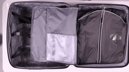 How to position your garment bags in your suitcase