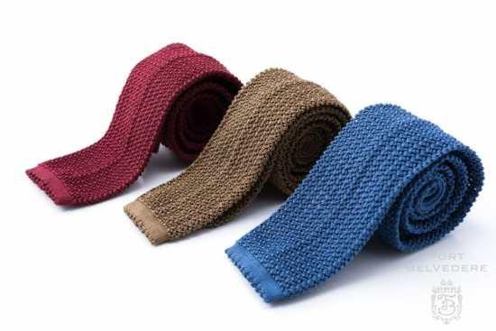 Dark red, light blue, tobacco brown silk knit ties by Fort Belvedere