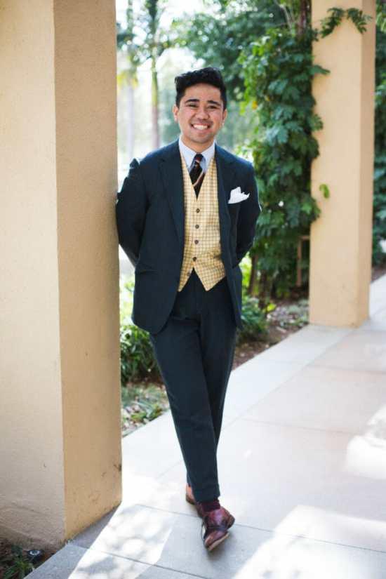 Ethan Wong of Sprezz x Style wearing a tattersall waistcoat