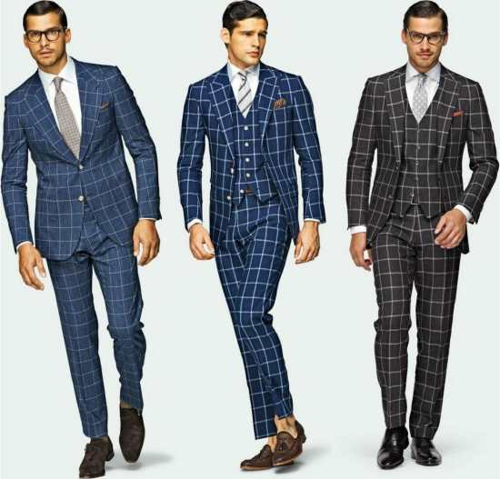 Strongly assertive windowpane suits