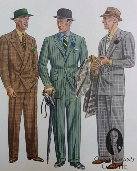 Plaid and windowpane suits (with a chalk stripe in between) from 1936