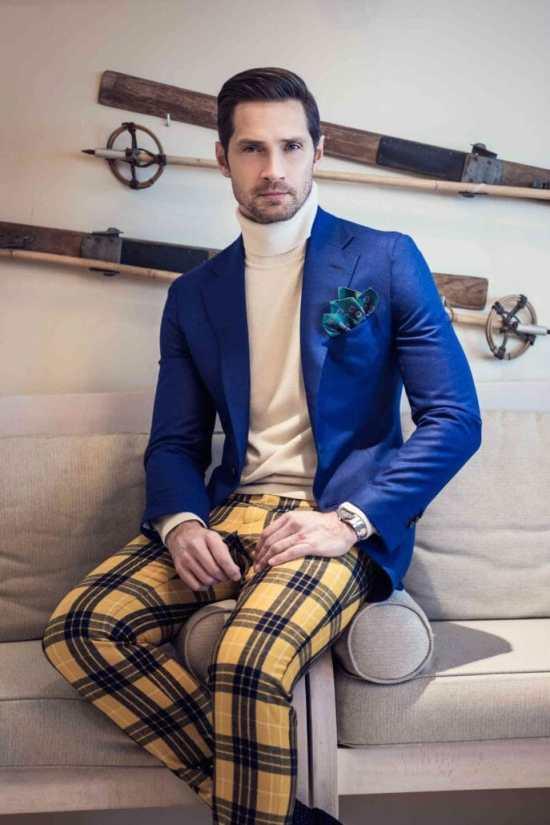Gianluca Cerutti wearing plaid wool flannel trousers