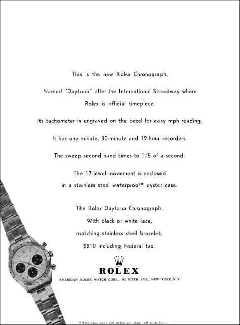 One of the first Daytona ads