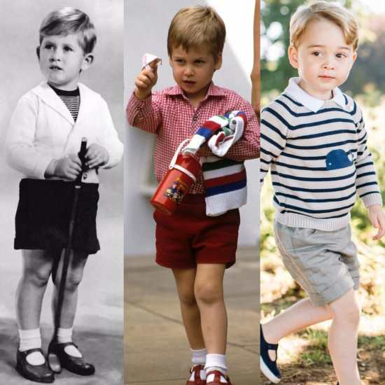 Three generations of British princes in traditional shorts