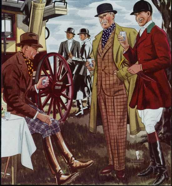 Country gents in riding attire fashion illustration