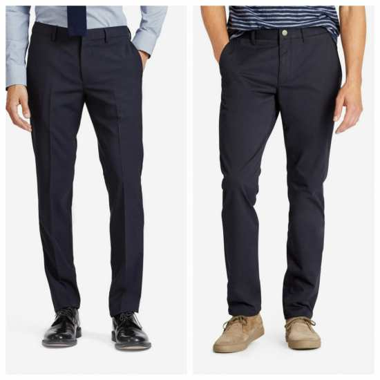 Dress pants (left) with a distinct crease; chinos (right) with more evident seam details, no pleat, and a metallic button closure.