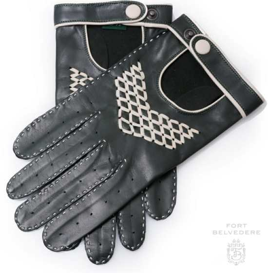 British Racing Green Driving Gloves in Lamb Nappa Leather with White Contrast Detailing