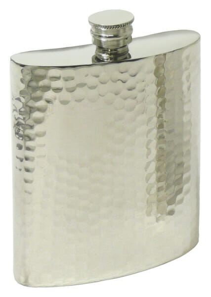 A hammered pewter flask