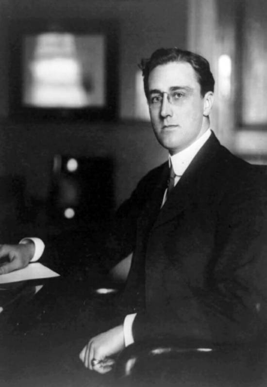 Young FDR with stacked wedding band and pinky ring