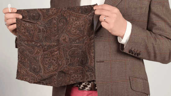 Brioni brown paisley pocket square