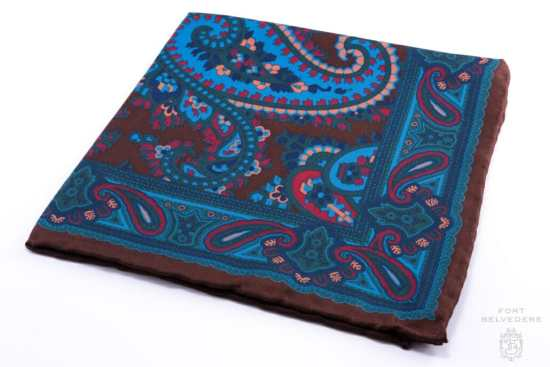 Brown Madder Silk Pocket Square with Turquoise,Green, Brown Large Paisley- Fort Belvedere