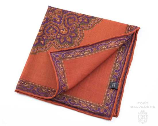 Burnt Orange Silk-Wool Pocket Square with Paisley Motifs - Fort Belvedere