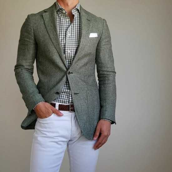 Green linen and gingham